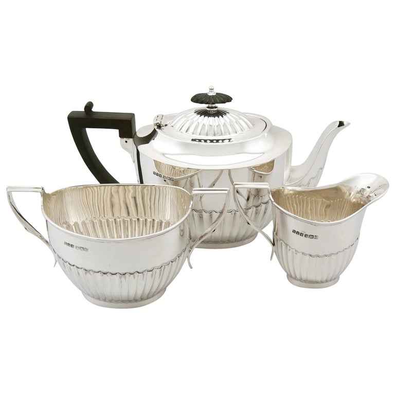 Antique 1910s Sterling Silver Three-Piece Tea Service For Sale