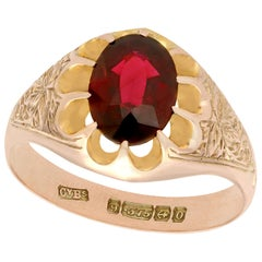 Antique 1913 2.57 Carat Garnet and 9 Karat Rose Gold Solitaire Ring