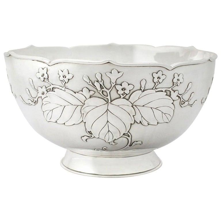 Antique 1917 Japanese Silver Presentation Bowl For Sale