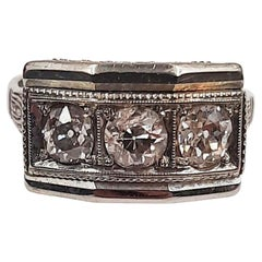 Antique 1920 1 Carat European Cut Diamond 18 Carats White Gold Ring