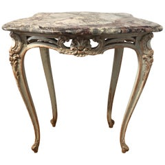 Antique 1920 Neo Louis XV Style Side Table Marble Too
