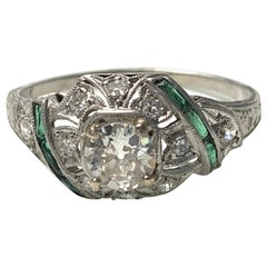 Antique 1920 White Old European Cut Diamond and Emerald Engagement Ring