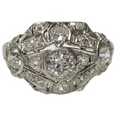 Antique 1920 White Old European Cut Diamond Cocktail Ring in Platinum
