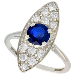 Antique 1920s 1.02 Carat Sapphire and Diamond White Gold Cocktail Ring