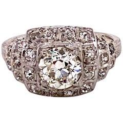 Antique 1920s 1.17 Carat European Cut Diamond Platinum Art Deco Ring