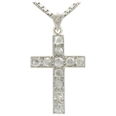 Antique 1920s 1.20 Carat Diamond and White Gold Cross Pendant