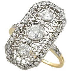 Antique 1920s 1.26 Carat and Yellow Gold Platinum Set Cocktail Ring