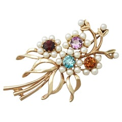 Antique 1920s 1.28 Carat Multi-Gemstone and Pearls Yellow Gold Brooch