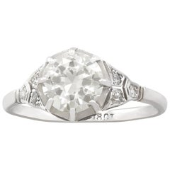 Antique 1920s 1.60 Carat Diamond and White Gold Solitaire Ring