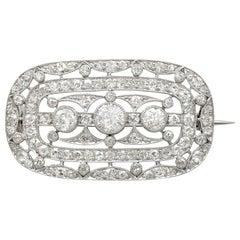 Antique 1920s 1.83 Carat Diamond and Platinum Brooch by Garrard