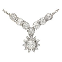 Antique 1920s 1.99 Carat Diamond and Silver Necklace