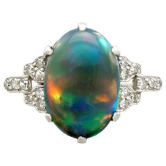 Antique 1920s 2.05 Carat Black Opal and Diamond Platinum Cocktail Ring