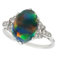 Antique 1920s 2.05 Carat Black Opal and Diamond Platinum Cocktail Ring