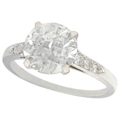 Antique 1920s 2.33 Carat Diamond and Platinum Solitaire Engagement Ring