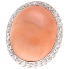 Antique 1920s 26.86 Carat Pink Coral and 1.80 Carat Diamond Gold Cocktail Ring