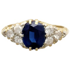 Antique 1920s 2.95 Carat Sapphire and Diamond Yellow Gold Cocktail Ring