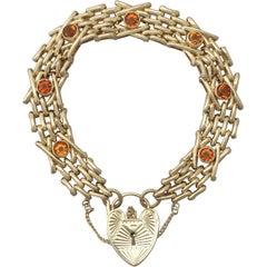 Antique 1920s 3.15 Carat Citrine and Yellow Gold Gate Bracelet
