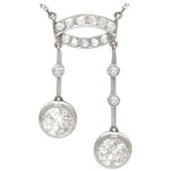 Antique 1920s 3.33 Carat Diamond and Platinum Pendant