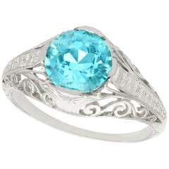 Antique 1920s 3.34 Carat Blue Zircon and Platinum Cocktail Ring