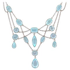 Antique 1920s 36.38 Carat Aquamarine and Platinum White Gold Necklace