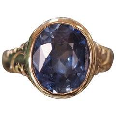 Antique 1920s 4.25 Carat Sapphire Ring