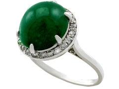 Antique 1920s 5.60 Carat Emerald and Diamond Platinum Cocktail Ring