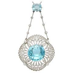 Antique 1920s Aquamarine, Topaz and 1.42 Carat Diamond and Platinum Necklace