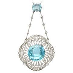 Antique 1920s Aquamarine Topaz and 1.42 Carat Diamond and Platinum Necklace