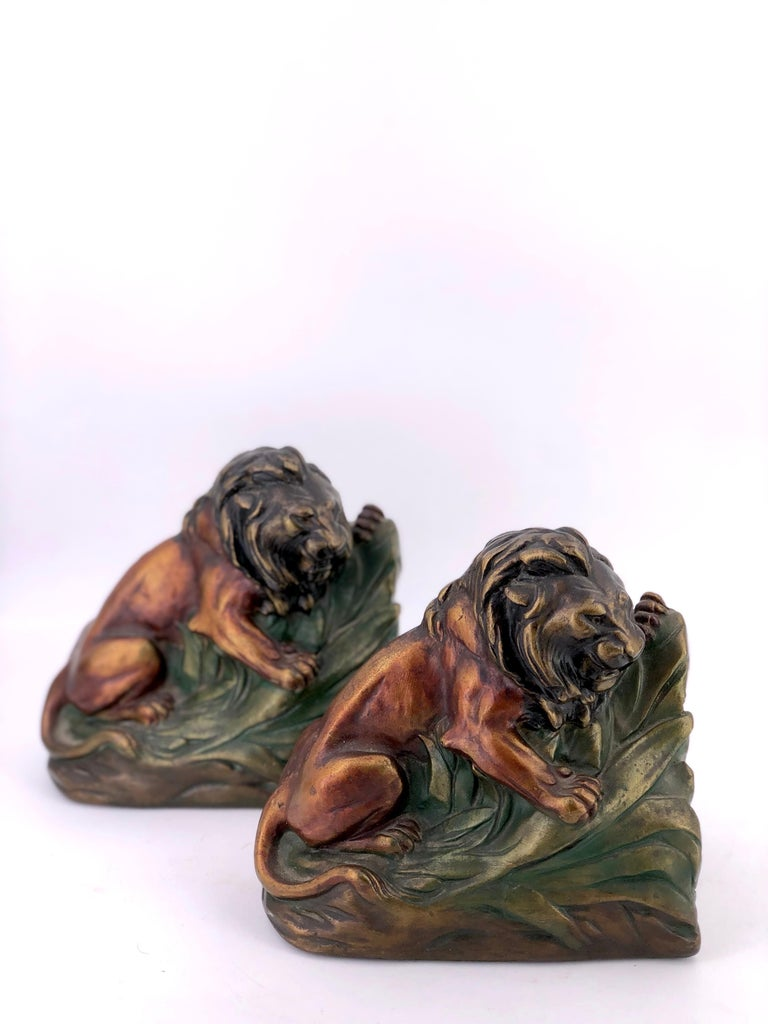 American Classical Antique 1920s Armor Bronze Clad Lion Pair of Bookends For Sale