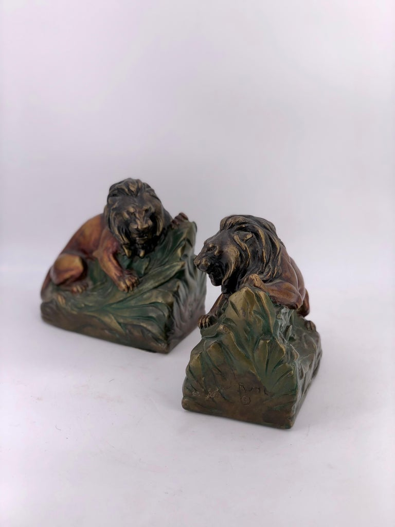 American Antique 1920s Armor Bronze Clad Lion Pair of Bookends For Sale