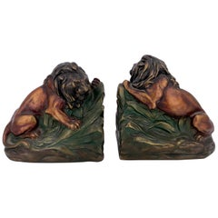 Antique 1920s Armor Bronze Clad Lion Pair of Bookends