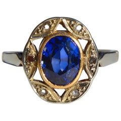 Antique 1920s Art Deco 1 Carat Sapphire Diamond 14 Karat Gold Halo Ring