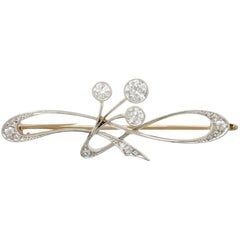 Antique 1920s Art Nouveau Diamond Yellow Gold, Platinum Set Brooch