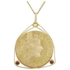Antique 1920s Art Nouveau Garnet and Yellow Gold Coin Pendant