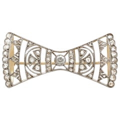 Antique 1920s Austro-Hungarian Diamond and Yellow Gold Bow Brooch