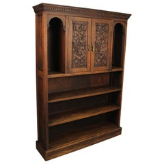 Antique 1920s Carved Oak Bookcase with Storage