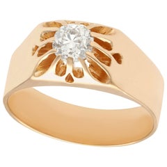 Antique 1920s Diamond and Rose Gold Solitaire Ring