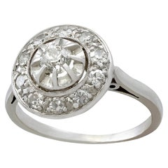 Antique 1920s Diamond and White Gold Cluster Ring
