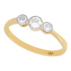 Antique 1920s Diamond and Yellow Gold Trilogy Ring