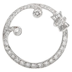 Antique 1920s Diamond Wreath Platinum Round Brooch