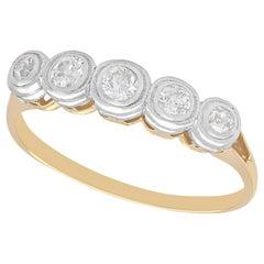 Antique 1920s Diamond Yellow Gold Five-Stone Ring