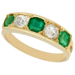 Antique 1920s Emerald and Diamond Yellow Gold Ring