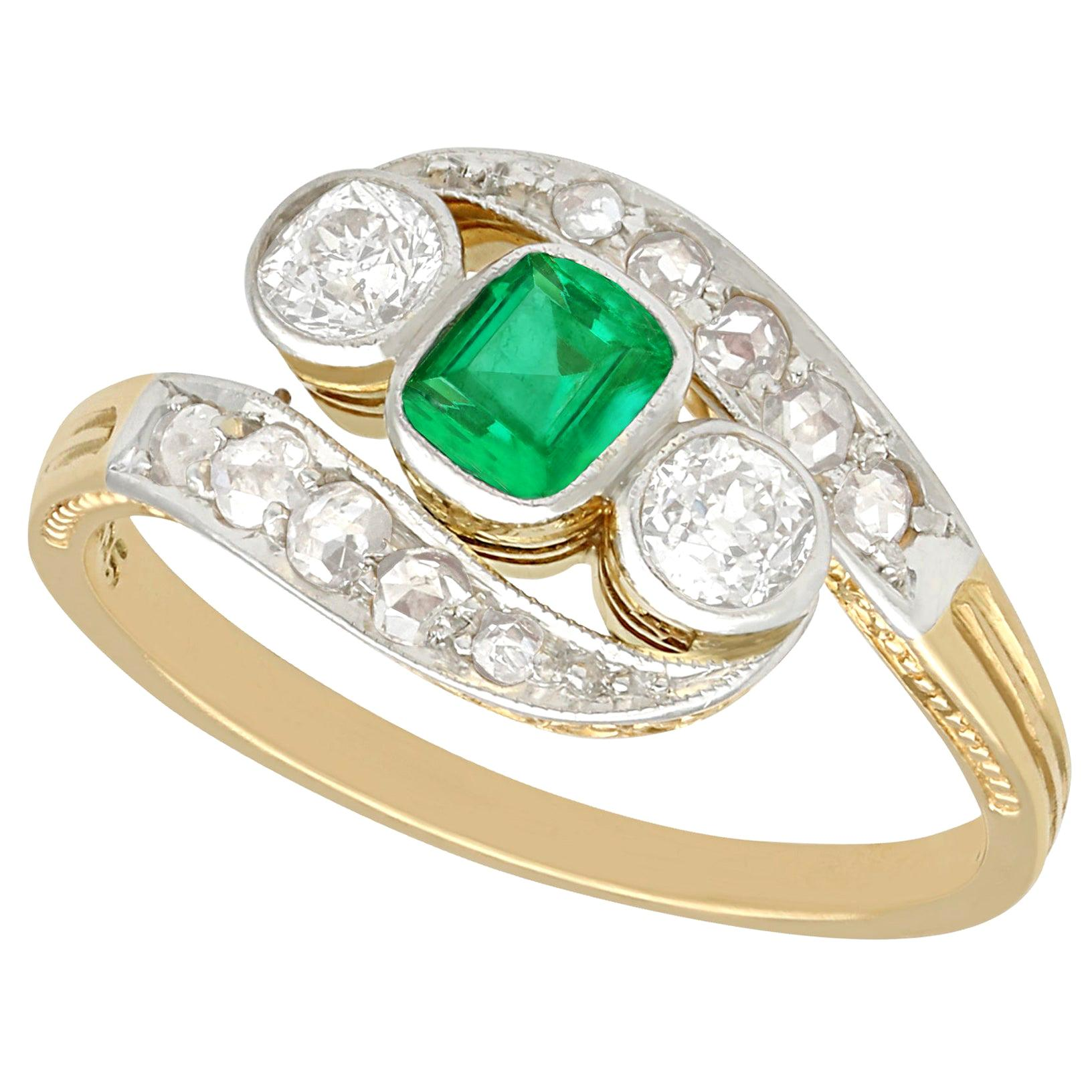 Antique 1920s Emerald and Diamond Yellow Gold Twist Ring