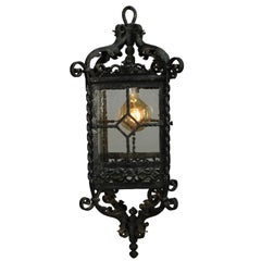 Antique 1920s Exterior Spanish Revival English Tudor Iron Lantern