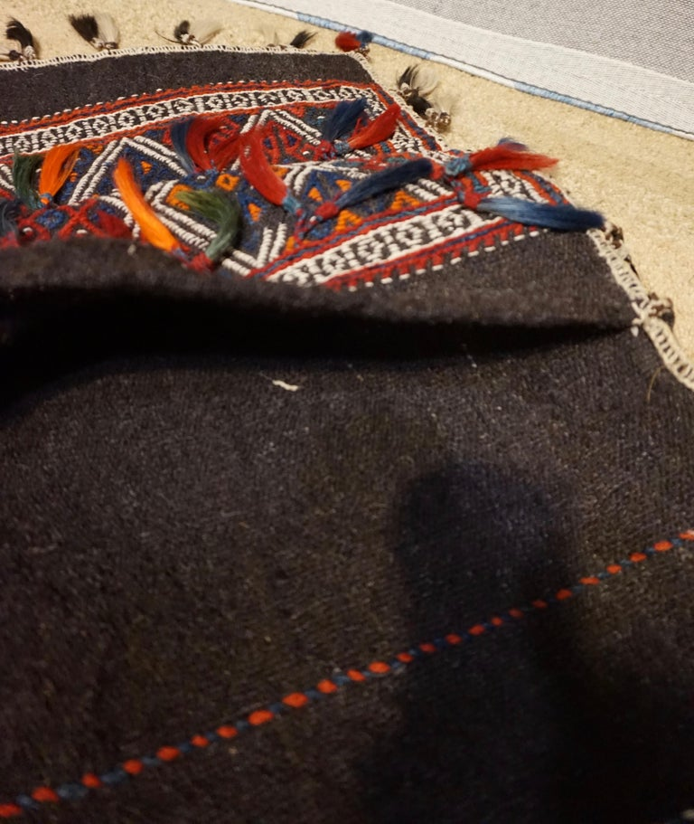 Antique 1920s Fine Turkish Saddle Bag Goat Hair with Decorative Tassels For Sale 3