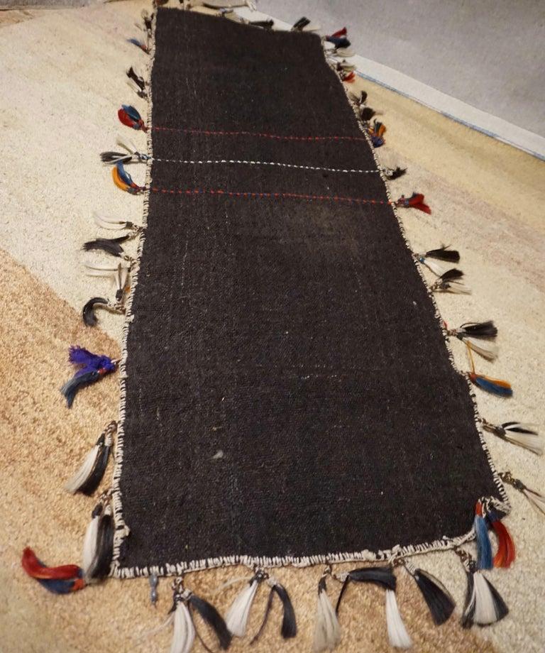 Antique 1920s Fine Turkish Saddle Bag Goat Hair with Decorative Tassels For Sale 4