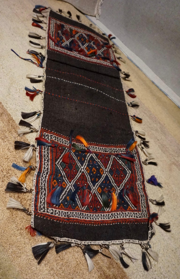 Wool Antique 1920s Fine Turkish Saddle Bag Goat Hair with Decorative Tassels For Sale