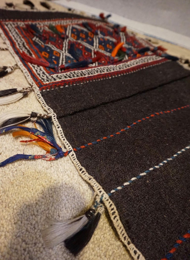 Antique 1920s Fine Turkish Saddle Bag Goat Hair with Decorative Tassels For Sale 2