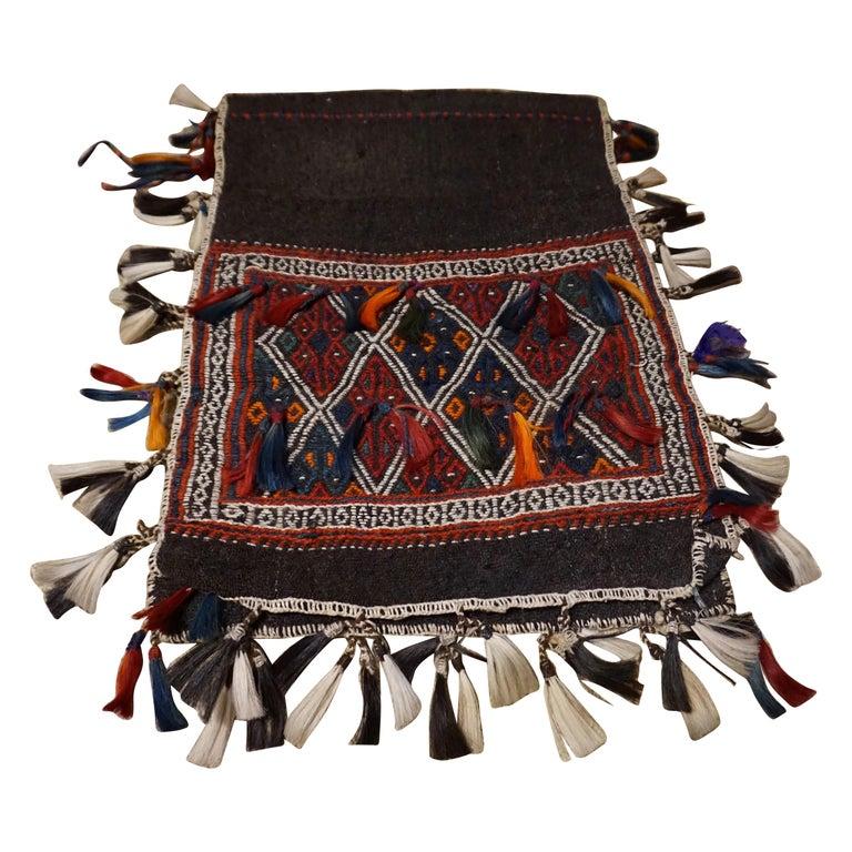 Antique 1920s Fine Turkish Saddle Bag Goat Hair with Decorative Tassels For Sale