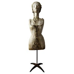 Antique 1920s French Feminist Art Dress Form Mannequin Bust on Steel Stand